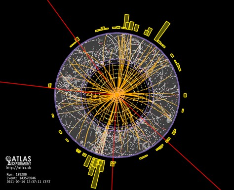ATLAS Experiment illustration of two protons beams colliding. Experiments similar to this one will be analyzed for Higgs boson particle production.. (Photo: © 2011 CERN - Atlas collaboration)
